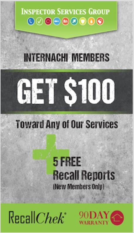InterNACHI Members Get $100 Toward Any of Our Services. Inspector Services Group.